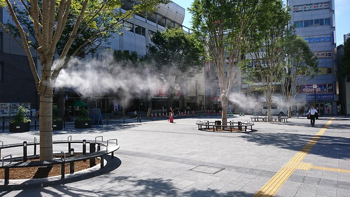 甲府駅前南口水盤・ミスト新設
