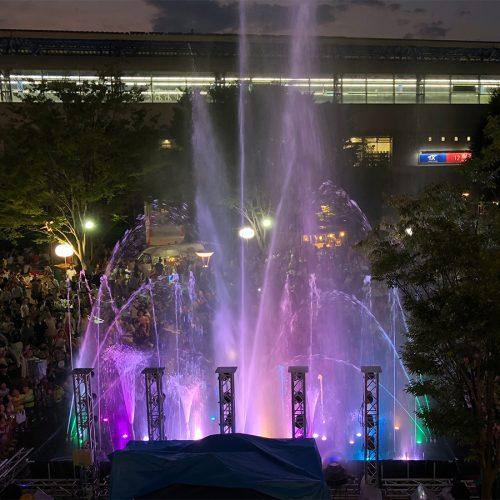流山市「森のナイトカフェ」 音楽噴水ショー・水遊び広場 レンタル