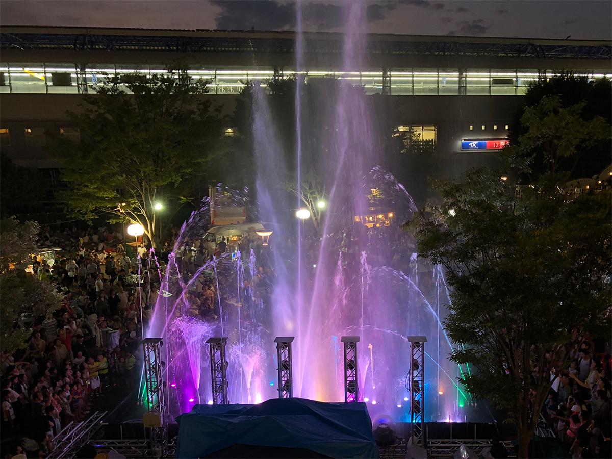【レンタル噴水】流山市「森のナイトカフェ」 音楽噴水ショー・水遊び広場 レンタル